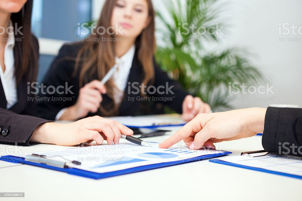 People at work during a business meeting stock photo