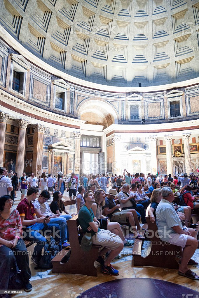 People attending religious service at the Pantheon in Rome, Italy stock photo