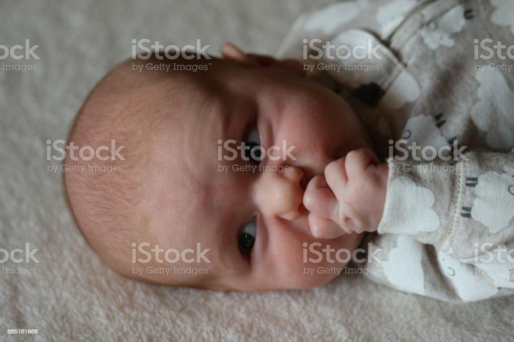 People: Baby sucking fingers stock photo