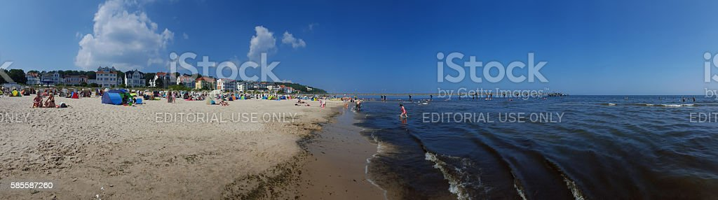 people bathing at the beach - Baltic Sea, Usedom, Bansin stock photo