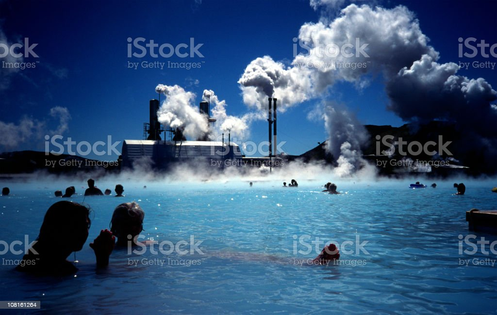 People bathing in the Blue Lagoon stock photo