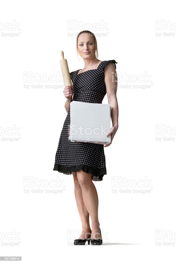 People: Blond Woman with Pizza Boxes royalty-free stock photo