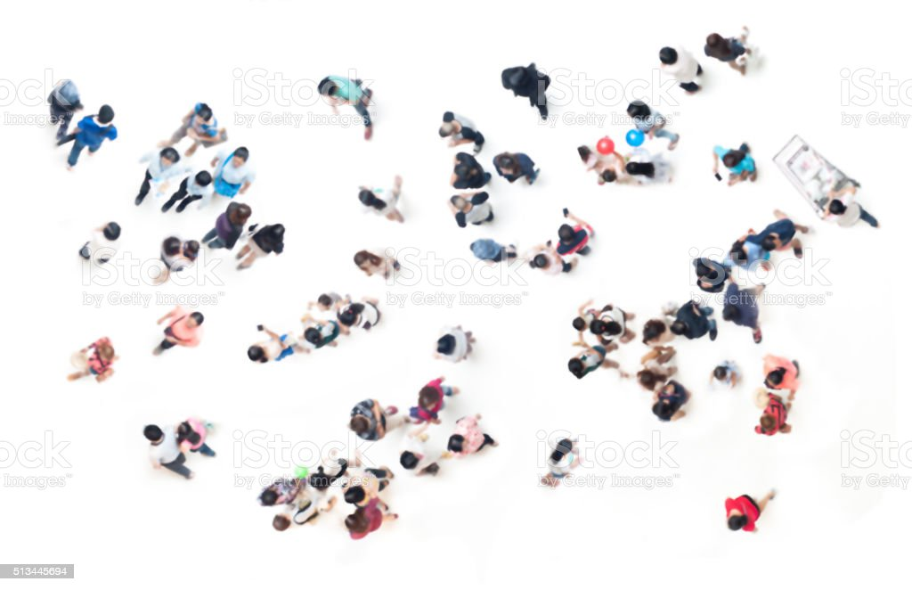 People blurred on white  for background from top view stock photo