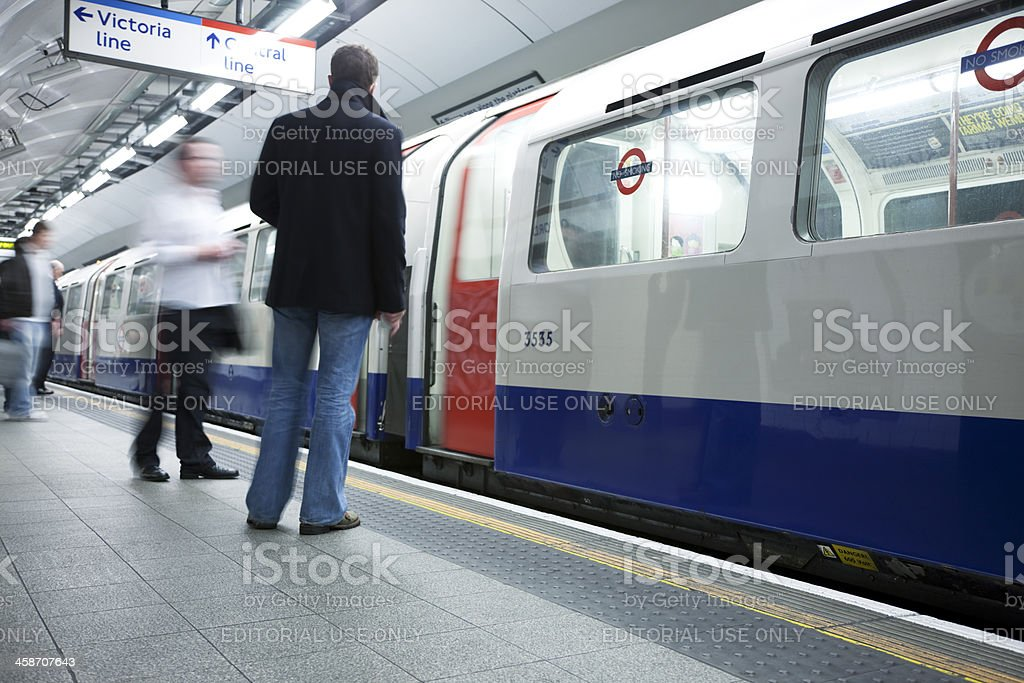 People Boarding Bakerloo Line Train at Oxford Circus Underground Station royalty-free stock photo