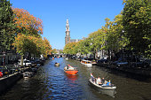 People boating in Amsterdam, Holland