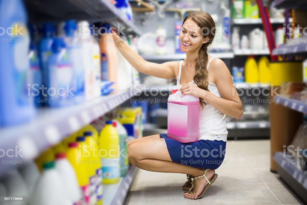 People buying detergents  in the shopping mall stock photo