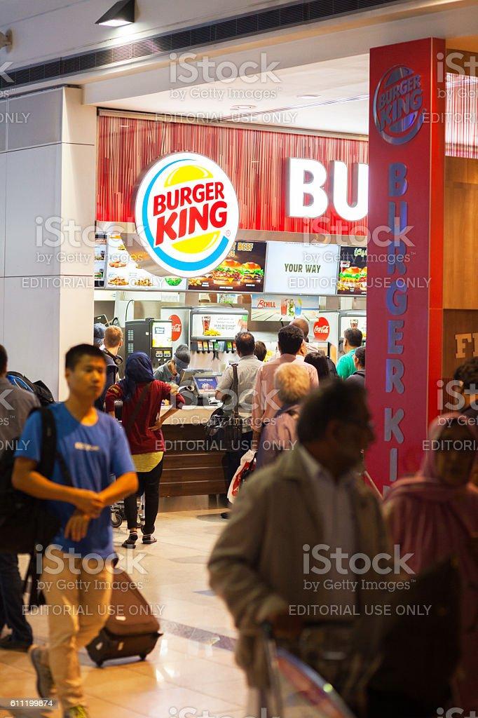 People buying fast food at Burger King stock photo