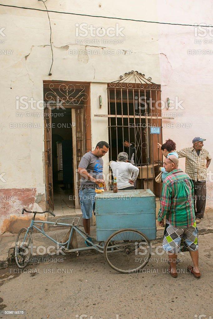 people buying fast food at trinidad cuba stock photo