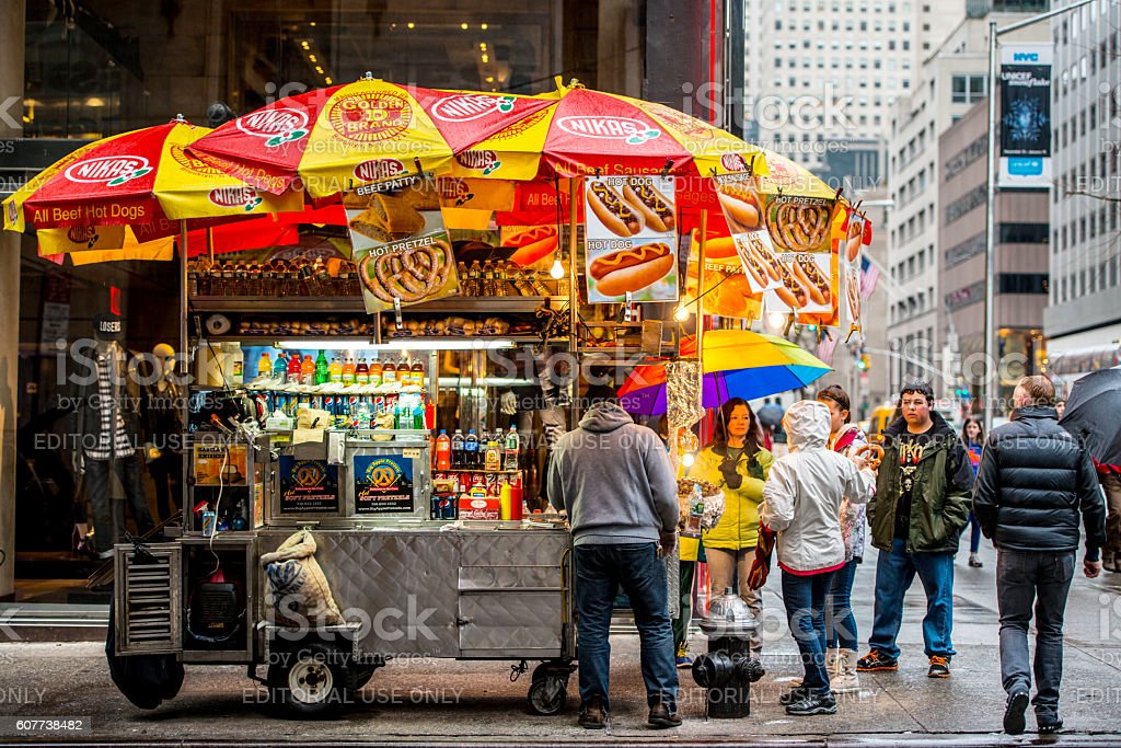 People buying fast food on New York street, USA stock photo