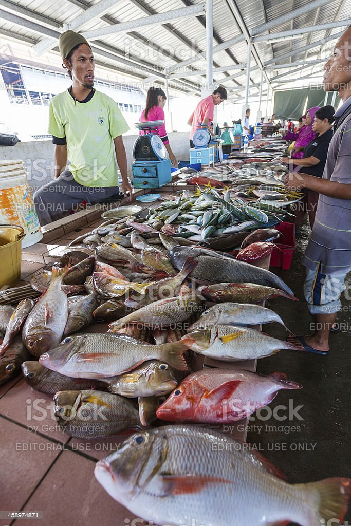 People Buying Fish at the Market royalty-free stock photo