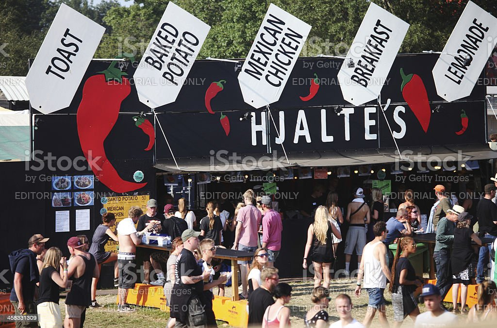 People buying food on music festival in Roskilde, Denmark stock photo