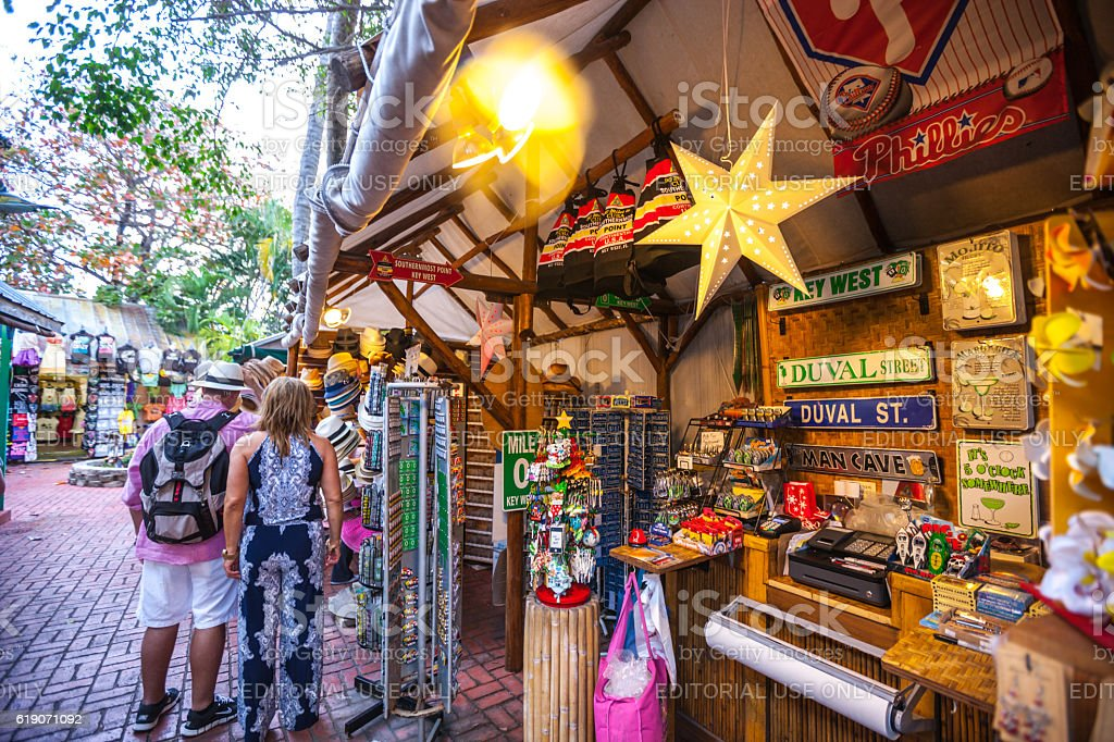 People buying gifts at Duval village, Key West stock photo