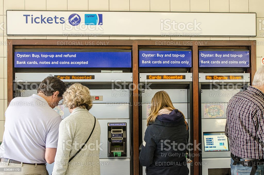 People buying Oyster card for the London Subway stock photo