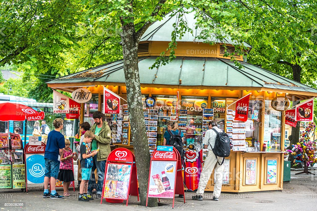 People buying snacks and gifts in Stockholm, Sweden stock photo