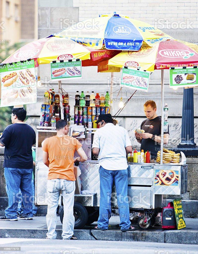 People buying snacks on New York street stock photo