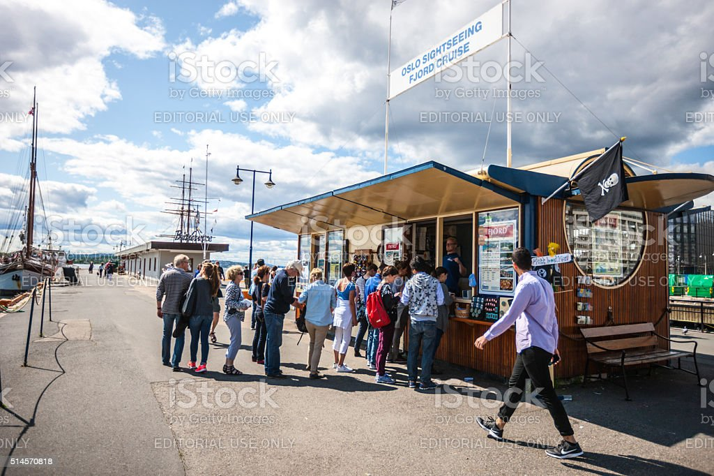 People buying tickets for fjord cruises, Oslo stock photo