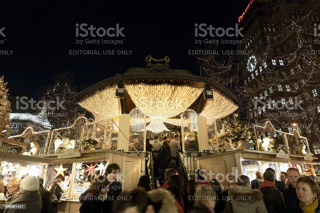 people buying wine at bar on Christmas Market in Dusseldorf stock photo