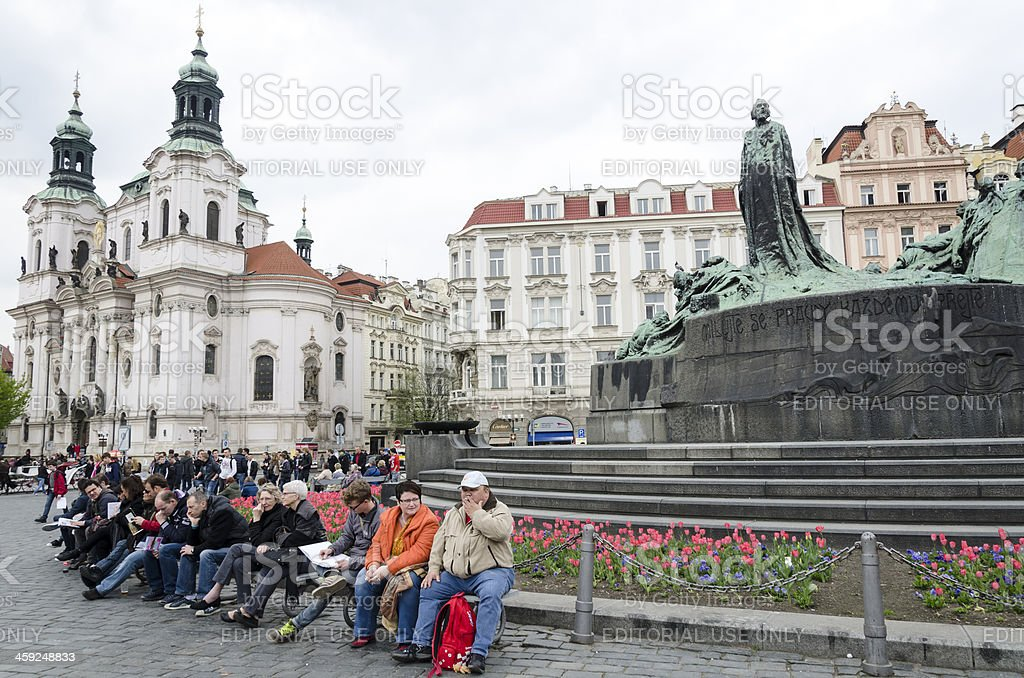 People by Jan Hus Memorial Prague Czech Republic royalty-free stock photo