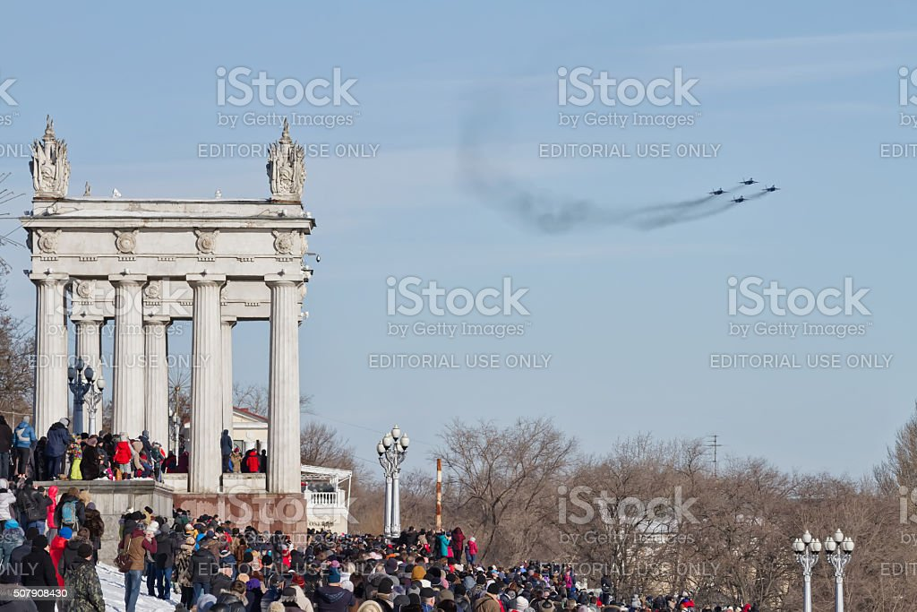 people came to see  parade of military aviation stock photo