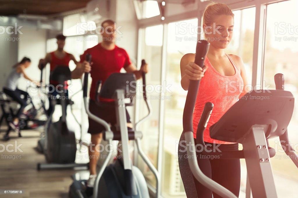 People cardio workout stock photo