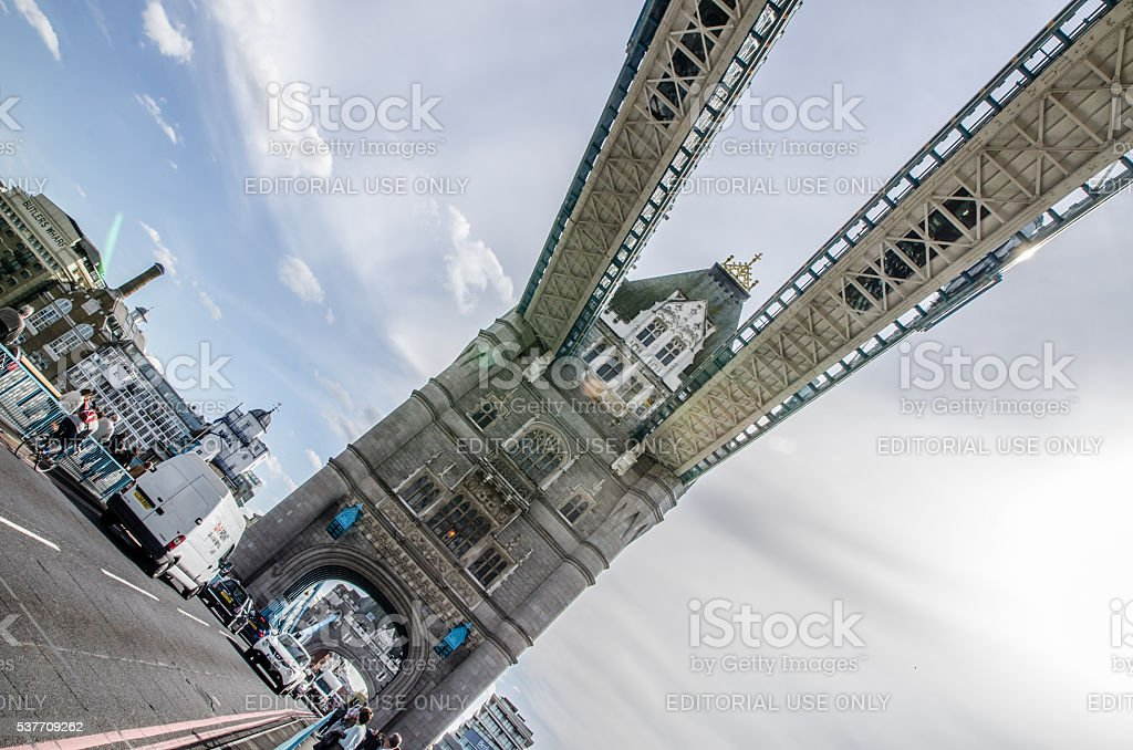 People, cars and glass see-through walkway on London Tower Bridge stock photo