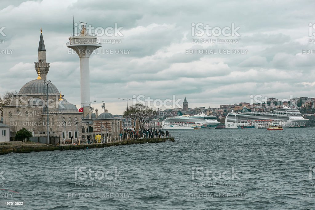 People catching fish at uskudar coast of istanbul turkey stock photo