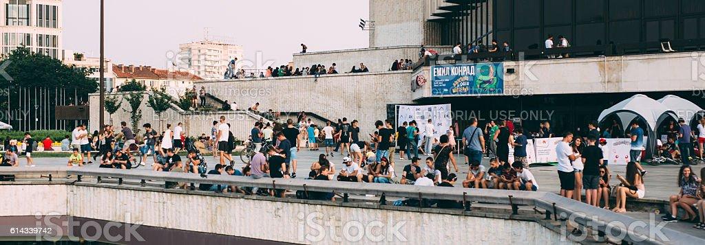 People Catching Pokemons stock photo