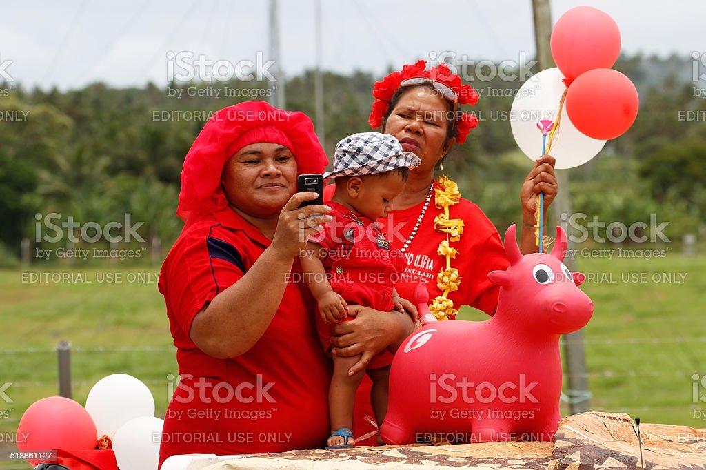 People celebrate arrival of Fuifui Moimoi on Vavau in Tonga. stock photo