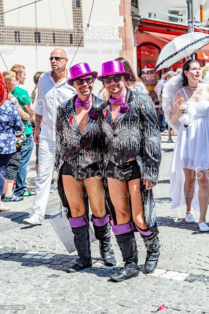 people celebrate christopher street day in Frankfurt stock photo