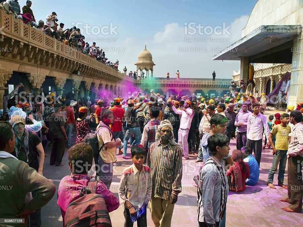 People celebrate Holi in Radha Rani Temple, Barsana Village India stock photo