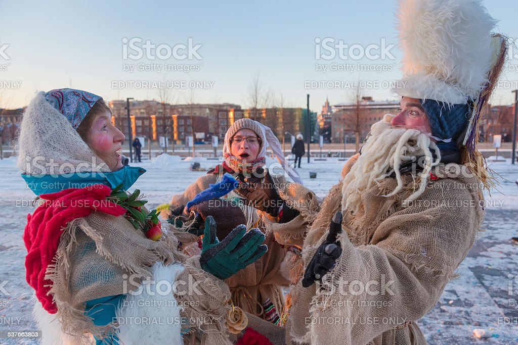 People celebrate holiday in winter Moscow stock photo