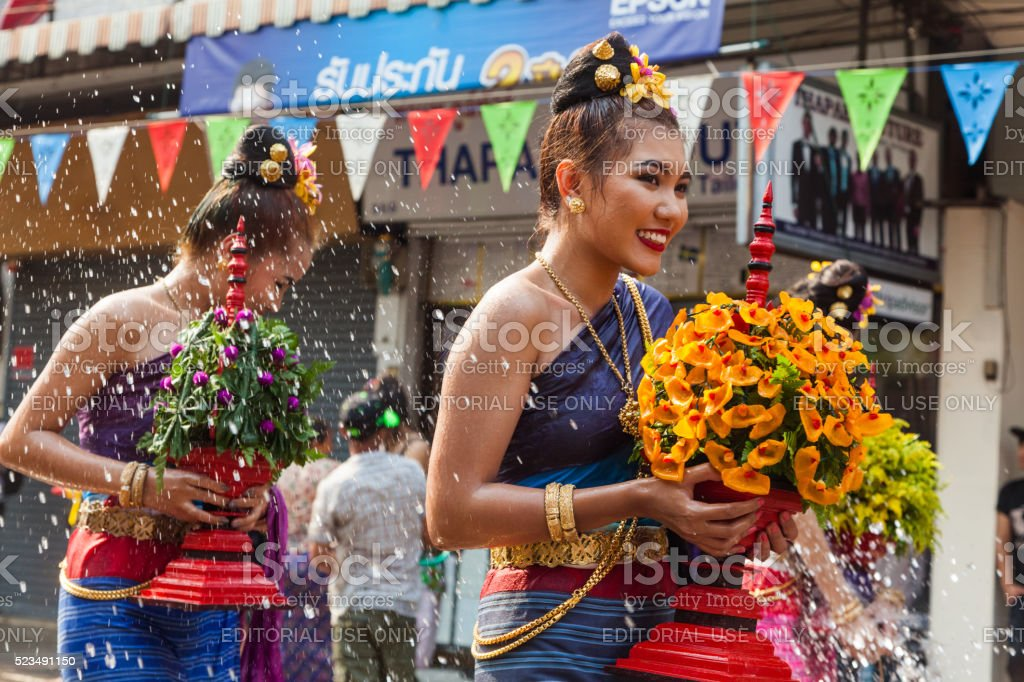 People celebrate in Songkran Festival Day stock photo