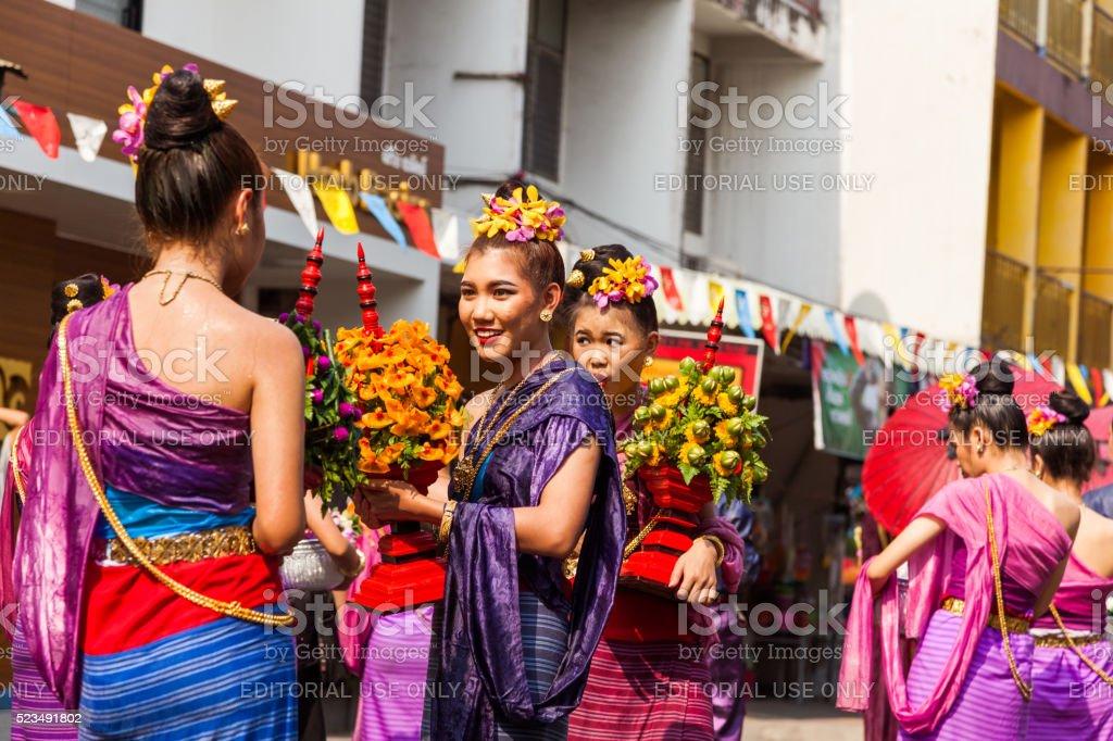 People celebrate in Songkran Festival Day stock photo