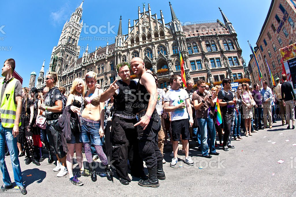 people celebrate the Christopher Street Day in Munich with color stock photo