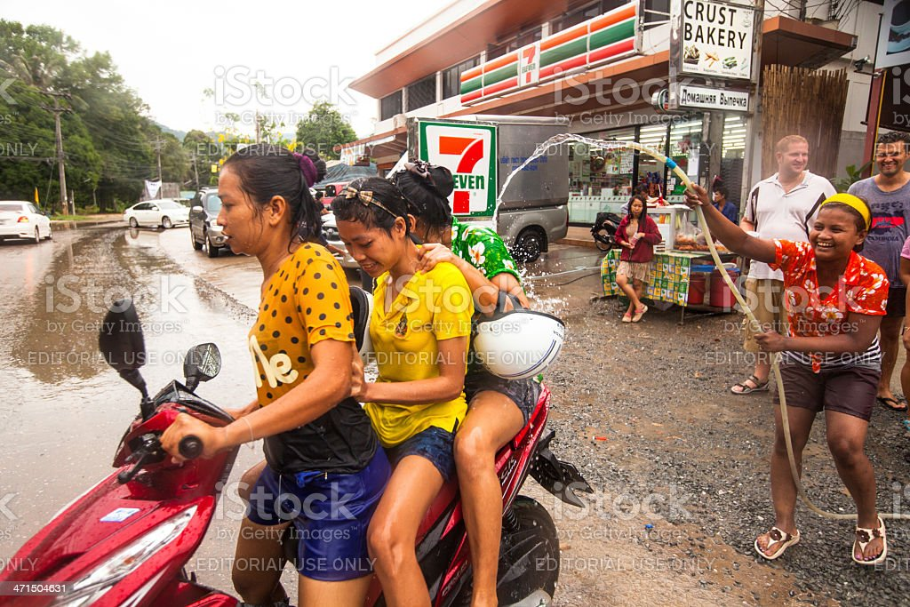 People celebrated Songkran Festival in Thailand royalty-free stock photo