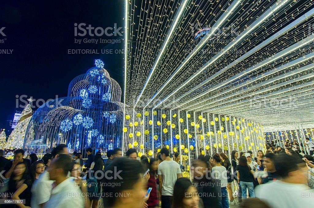People celebrating Christmas Eve stock photo