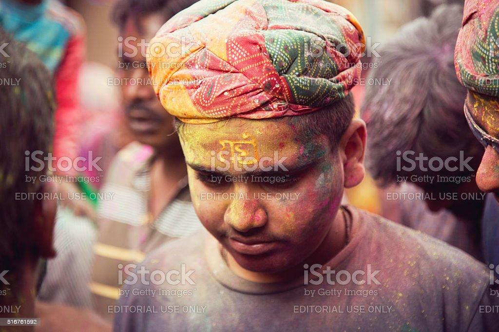 People celebrating Holi stock photo