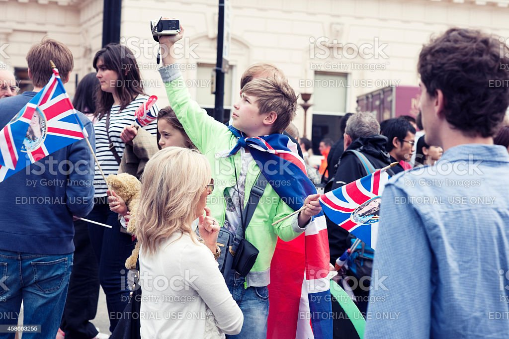 People Celebrating Royal Wedding, London stock photo
