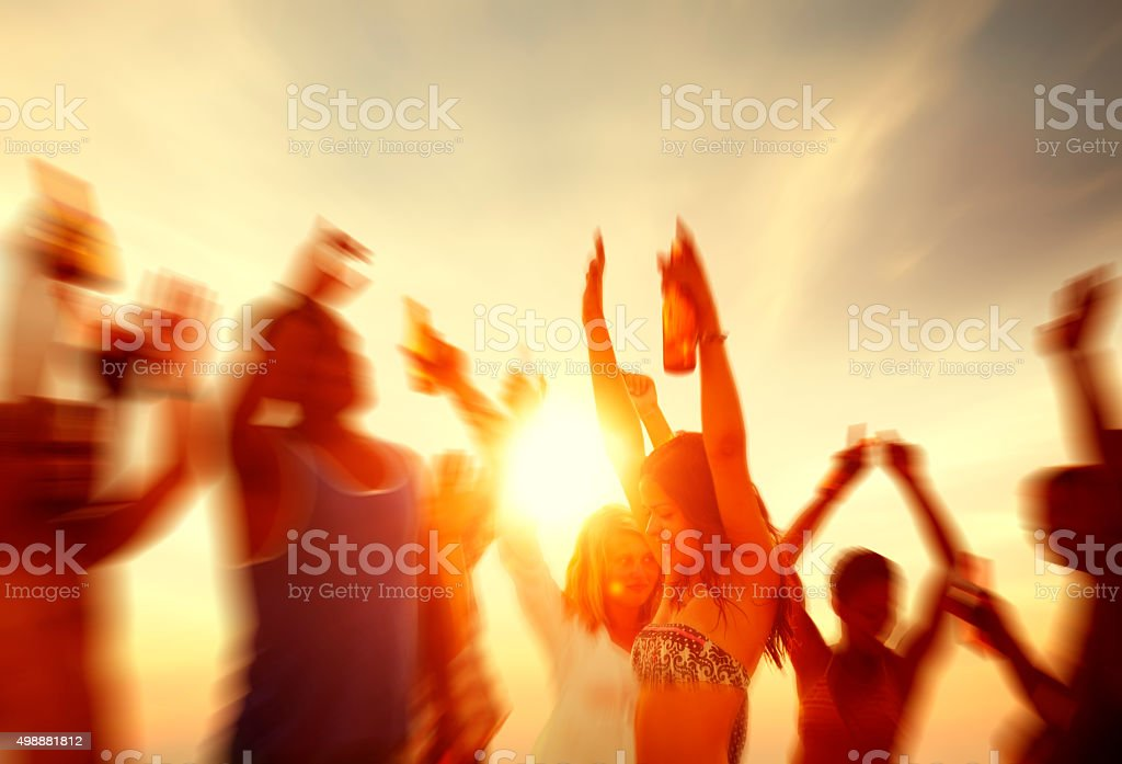 People Celebration Beach Party Summer Holiday Vacation Concept stock photo