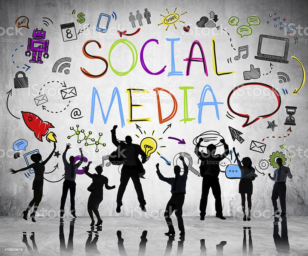 People cheering on social media background stock photo
