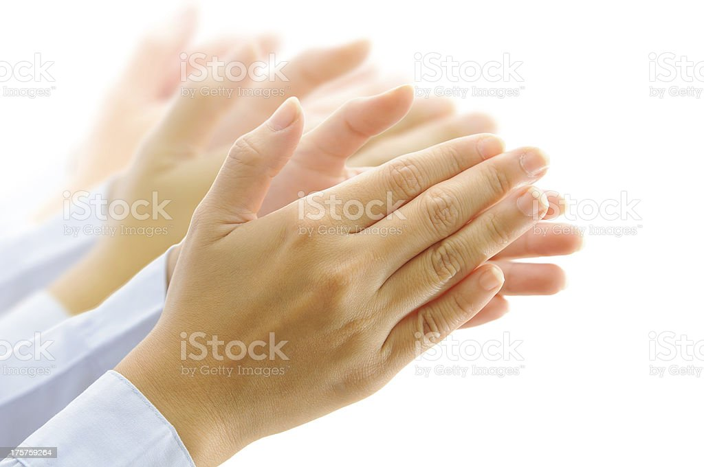 People clapping their hands on white stock photo