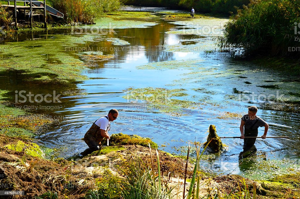People cleaning water lake stock photo