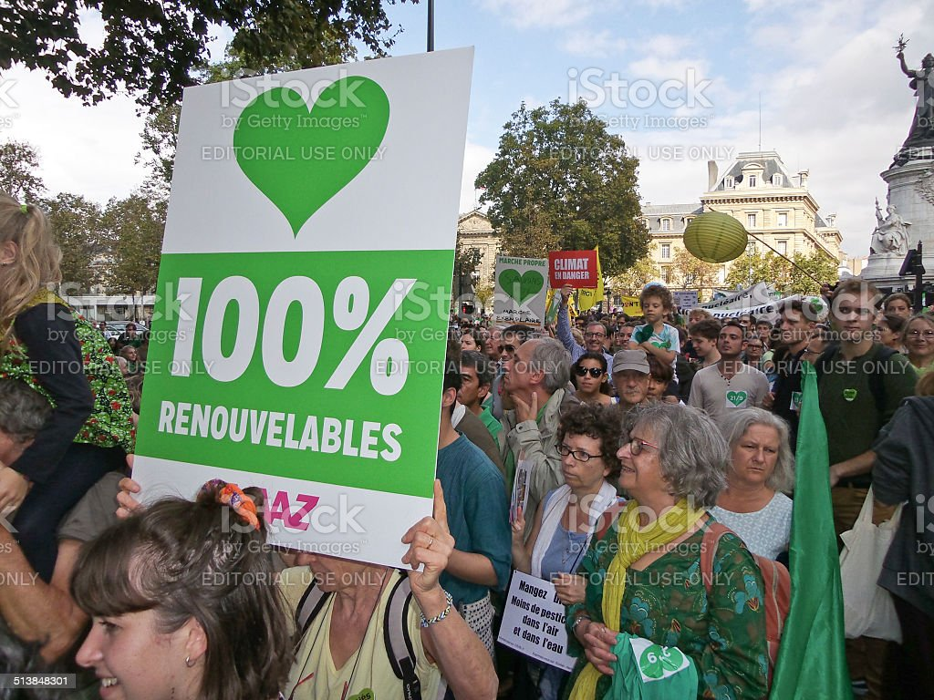 People climate march in Paris. stock photo