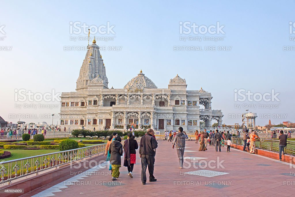 People comes to Prem Mandir stock photo