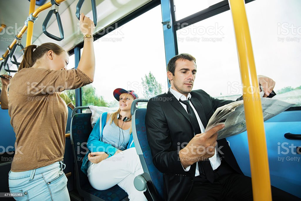 People commuting by bus. royalty-free stock photo
