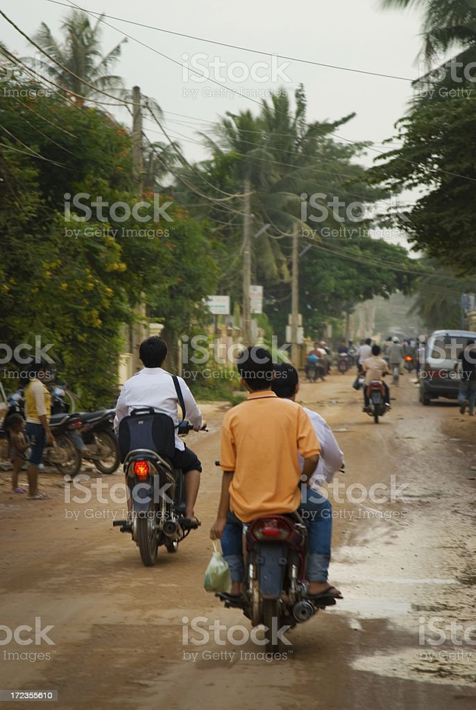 People Commuting in Cambodia royalty-free stock photo