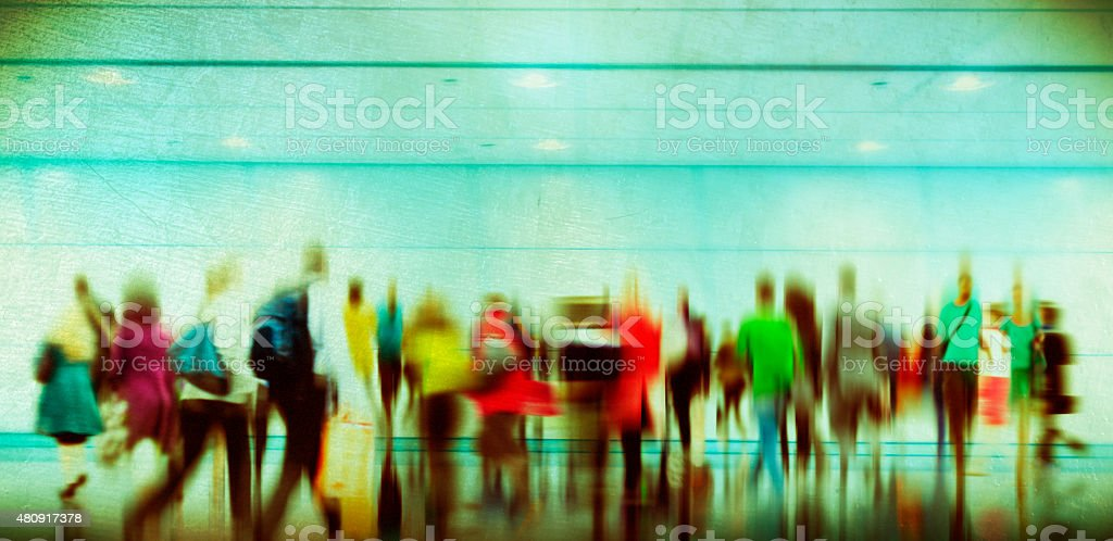 People Consumer Shopping Commuter Consumerism Crowded Concept stock photo