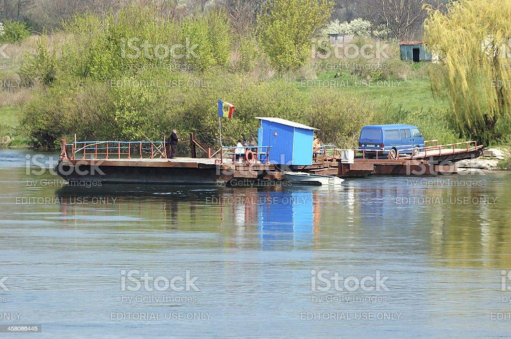 People crossing moldovian ukrainian border by ferry boat,Soroca,Moldova stock photo