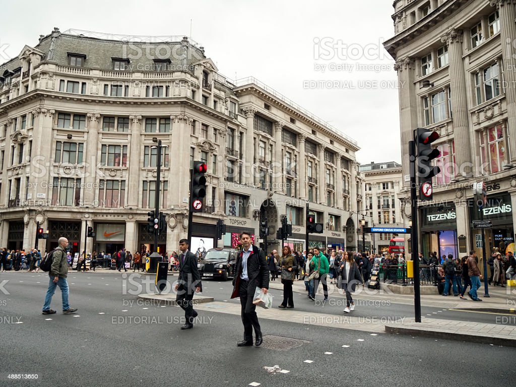 People crossing Oxford Circus stock photo