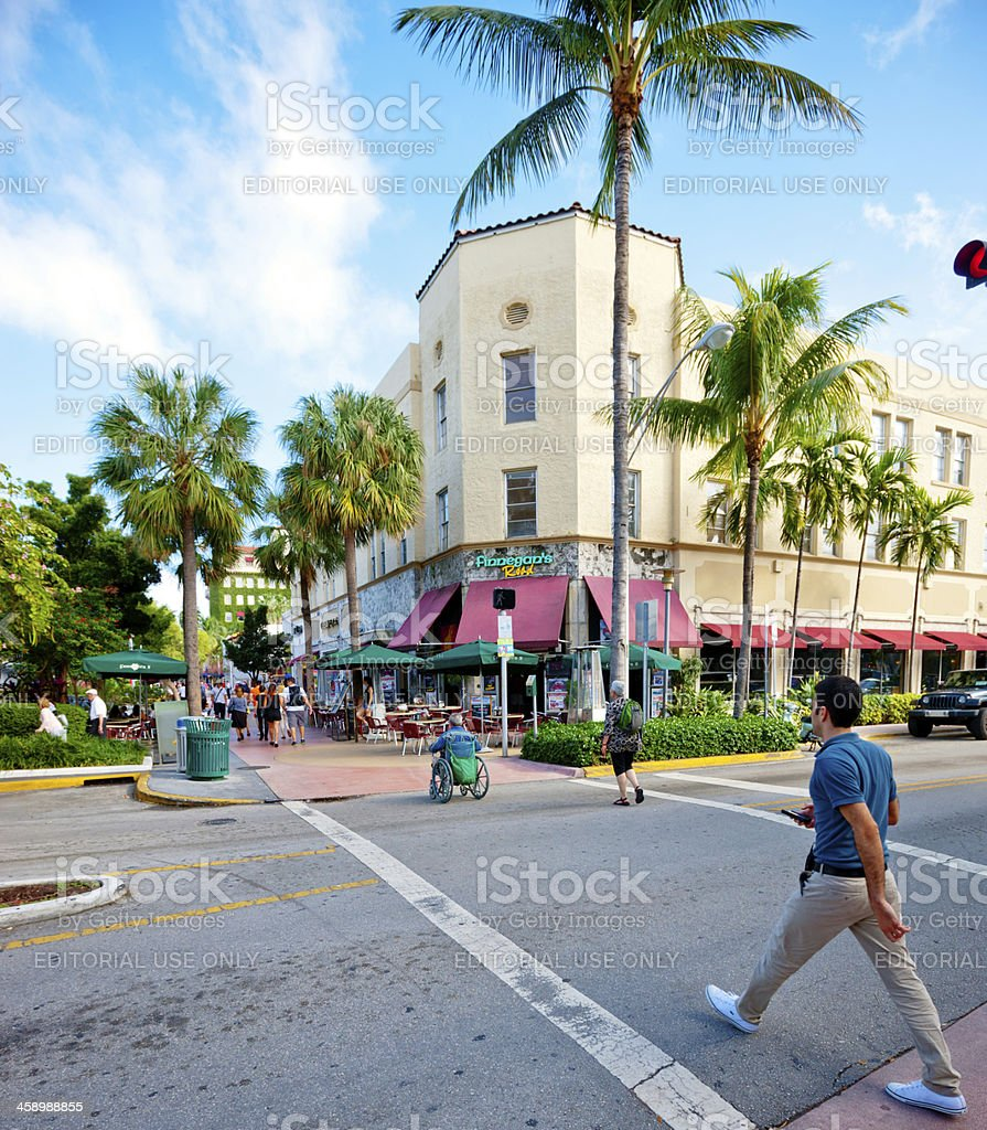 People crossing street, Lincoln Road Mall, Miami Beach stock photo